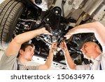 portrait of repairmen under a... | Shutterstock . vector #150634976