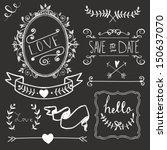 chalkboard wedding graphic set  ... | Shutterstock .eps vector #150637070