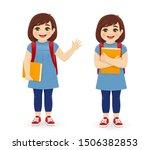 smiling school girl with book... | Shutterstock .eps vector #1506382853
