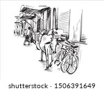 sketch of city scape in mumbai  ... | Shutterstock .eps vector #1506391649