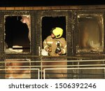 Small photo of Hackney, London / UK - September 17th 2019: Fire raced up a block of flats in Hackney, East London last night, which was clad in wooden cladding, 80 firefighters fought to control the blaze.