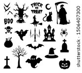 halloween silhouette character... | Shutterstock .eps vector #1506407300