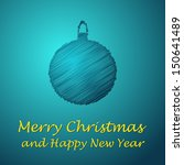 scribbled merry christmas blue... | Shutterstock .eps vector #150641489