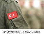 Small photo of Turkish flag on Turkey army uniform. Turkey troops. Turkish soldier