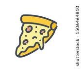 pizza color line icon. slice of ...