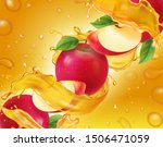 apple fruit in fresh splashing... | Shutterstock .eps vector #1506471059