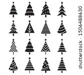 christmas tree icons. vector... | Shutterstock .eps vector #1506488630