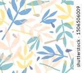 twigs and leaves hand drawn... | Shutterstock .eps vector #1506506009