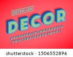 retro led stripe font design ... | Shutterstock .eps vector #1506552896