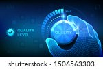 quality levels knob button.... | Shutterstock .eps vector #1506563303