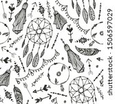 Vector boho seamless pattern. Hand drawn dream catcher, bird feather, arrows background. Black and white, doodle