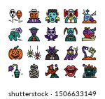 halloween icon set  vector and... | Shutterstock .eps vector #1506633149