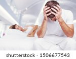 Small photo of Blurred background of newlyweds have problems fighting in bed. Sleepy married couple have such serious health problem as erection & snoring. Wife is sulky & husband has erectile dysfunction.