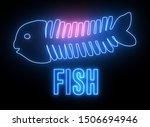modern  creative neon fish bone....