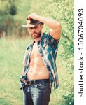 Guy Bearded Cowboy In Nature....
