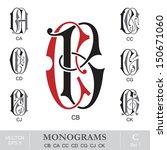 vintage monograms cb ca cc cd... | Shutterstock .eps vector #150671060
