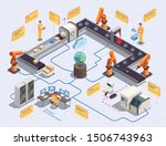 isometric flowchart with smart... | Shutterstock .eps vector #1506743963