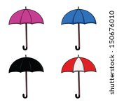 set of colorful umbrellas | Shutterstock .eps vector #150676010