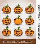 set pumpkins for halloween | Shutterstock .eps vector #150676856