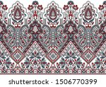 seamless paisley border on... | Shutterstock . vector #1506770399