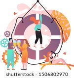 big lifebuoy and tiny people... | Shutterstock .eps vector #1506802970