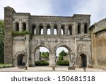The Sant Andre gate in Autun, France - stock photo