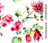 Stock photo seamless wallpaper with geranium and peony flowers watercolor illustration 150681806