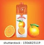orange juice drink carton... | Shutterstock .eps vector #1506825119