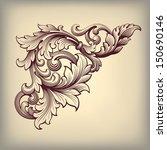 vector vintage Baroque scroll design frame corner pattern element engraving retro style ornament