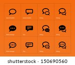 speech bubble icons on orange... | Shutterstock .eps vector #150690560
