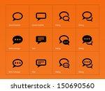 speech bubble icons on orange... | Shutterstock .eps vector #150690560