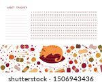 Stock vector habit tracker for month flat vector template knitting themed blank personal organizer with 1506943436