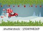 uncle santa is driving a sedan... | Shutterstock .eps vector #1506948269