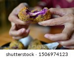 Small photo of Purple Sweet Potato Cheese Ball Great nosh for a party or get-together. You can make one large sweet potato cheese ball to be divide up with crackers or make smaller pop-in-your mouth with dipping.