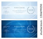 Gift certificate, Voucher, Coupon template with blue guilloche pattern (watermark). Dark background for banknote, money design, currency, note, check (cheque), ticket, reward. Vector