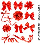 big set of red gift bows with... | Shutterstock .eps vector #150702356