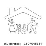 parents couple with son... | Shutterstock .eps vector #1507045859