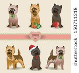 Vector Cairn-terrier dog collection with heart and strawberry