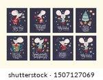 Christmas Funny Cartoon Mouse...
