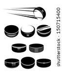 ice hockey pucks set isolated... | Shutterstock .eps vector #150715400