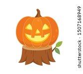 Halloween Pumpkin On Tree Stum...