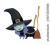 cute little girl with witch...   Shutterstock .eps vector #1507203500