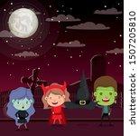 halloween season scene with...   Shutterstock .eps vector #1507205810
