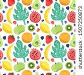 fruit set isolated in white... | Shutterstock . vector #1507250873