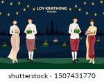 thai couple traditional dress... | Shutterstock .eps vector #1507431770