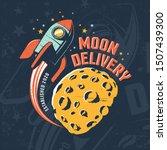 rocket fly around moon. vintage ... | Shutterstock .eps vector #1507439300