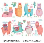 cute llamas with funny quotes.... | Shutterstock .eps vector #1507446260