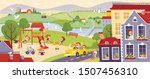 city landscape with houses and... | Shutterstock .eps vector #1507456310