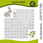 Stock vector maze game for children material for learning mathematics cartoon cute hare 1507471700