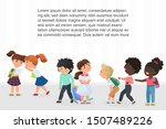 multiracial children pointing... | Shutterstock .eps vector #1507489226